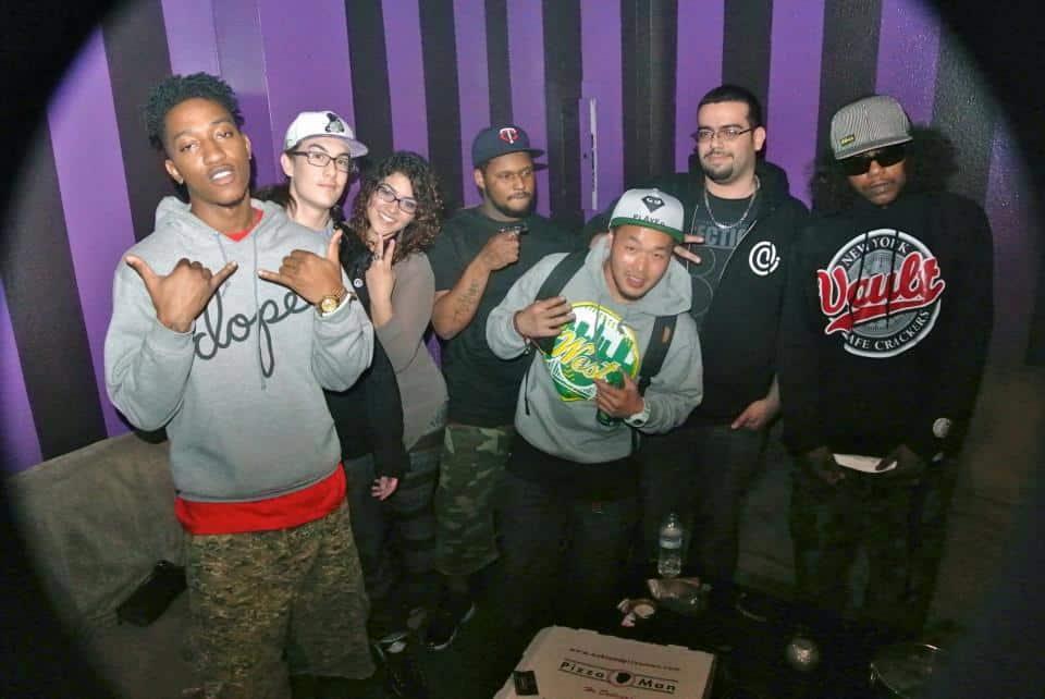 A-Mack, DJ Combsy, Maxine Myles, Schoolboy Q, Conrad, StrongArm & Ab-Soul at New Parrish in Oakland