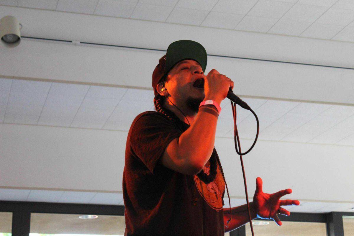 Medium shot of vocalist performing