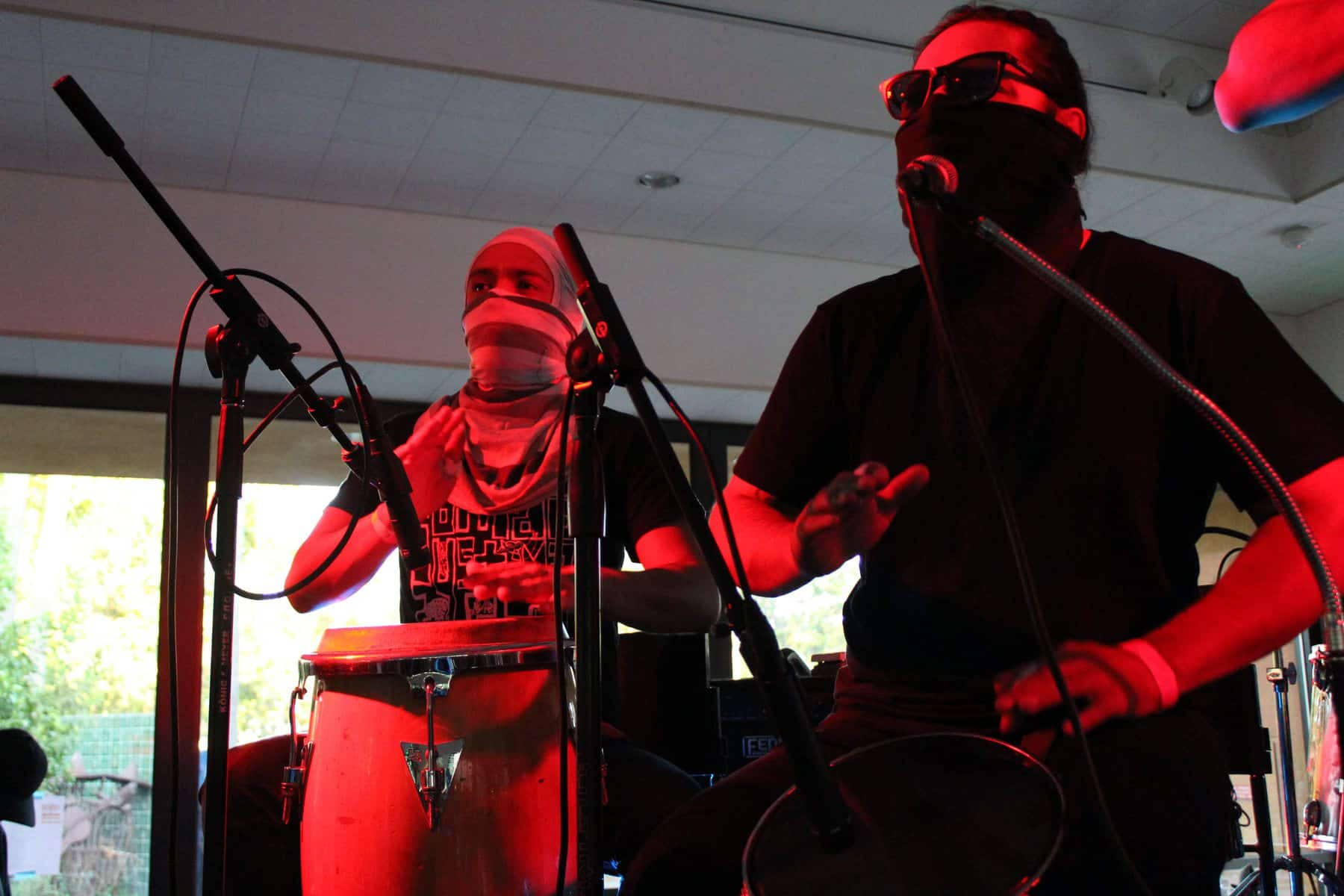 Two Percussionists Performing