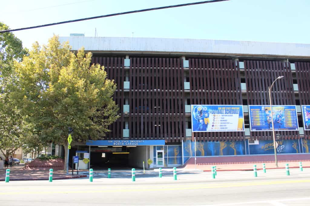 The front of the SJSU North Parking Garage