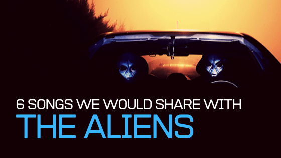Two People In Alien Masks Sitting In Car, With Sun Setting In The Background